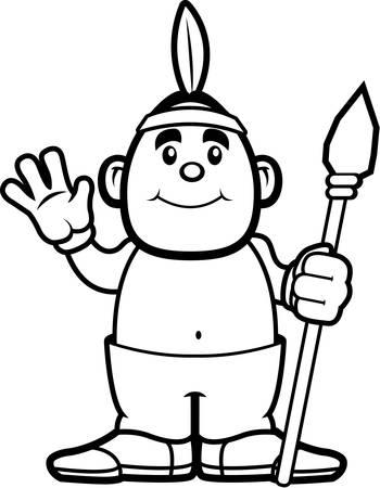 행복 한 만화 아메리카 원주민 물결 치 고 미소입니다.