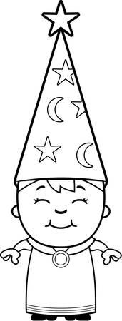 幸せな漫画キッド ウィザード立ち、笑みを浮かべてします。