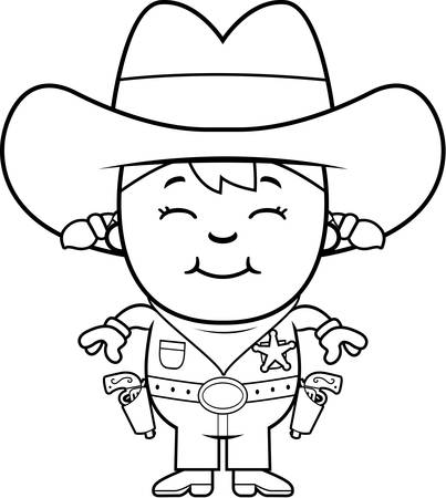 A happy cartoon girl in a sheriff costume standing and smiling.