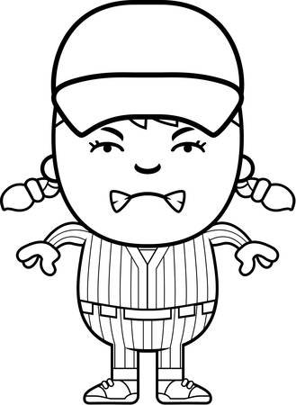 angry teenager: A cartoon illustration of a girl baseball player looking angry. Illustration