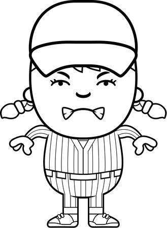 brat: A cartoon illustration of a girl baseball player looking angry. Illustration