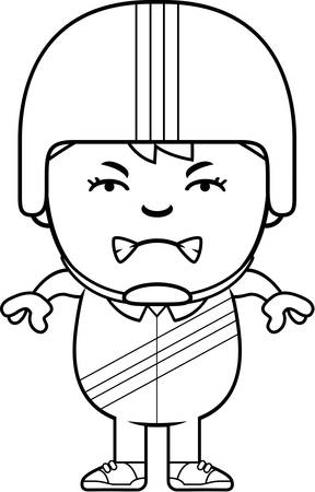 A cartoon illustration of a little daredevil looking angry. 向量圖像
