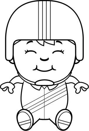 daredevil: A cartoon illustration of a little daredevil sitting.