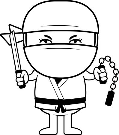 A cartoon illustration of a little ninja with weapons. Illusztráció
