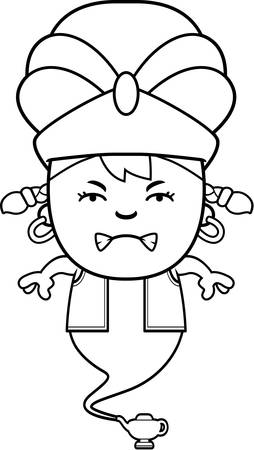 A cartoon illustration of a little genie looking angry. Иллюстрация