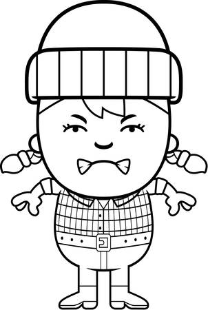 A cartoon illustration of a little lumberjack looking angry.
