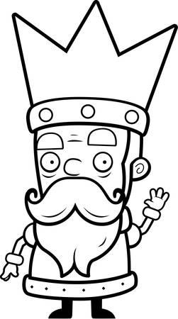 A little cartoon king in a crown waving. Ilustração