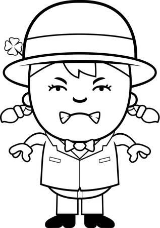 leprechaun girl: A cartoon illustration of a girl leprechaun looking angry.