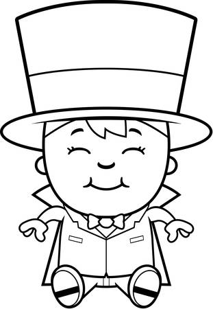 A cartoon illustration of a boy magician sitting and smiling.