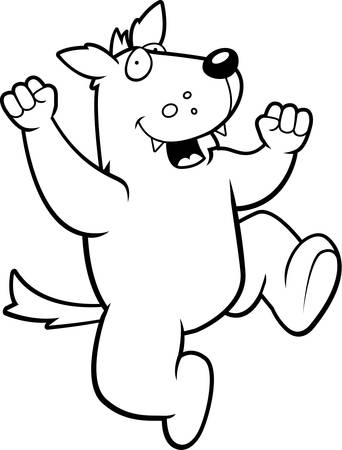 hurray: A happy cartoon wolf jumping and smiling. Illustration