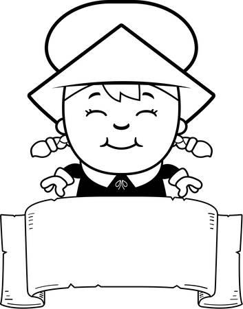 dutch girl: A cartoon illustration of a girl pilgrim with a banner.