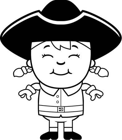 pioneer: Une illustration de bande dessin�e d'une jeune fille coloniale debout et souriant. Illustration