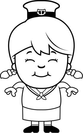 adolescent: A cartoon illustration of a little sailor smiling.