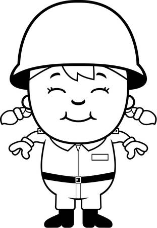 military girl: A cartoon illustration of an army soldier girl standing and smiling. Illustration