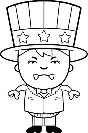 angry teenager: A cartoon illustration of a patriotic boy looking angry.