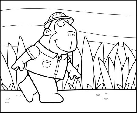 ape: A happy cartoon explorer ape walking and smiling. Illustration
