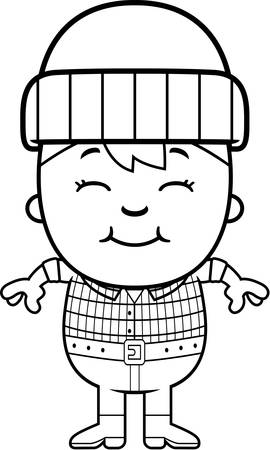 woodsman: A cartoon illustration of a little lumberjack smiling. Illustration