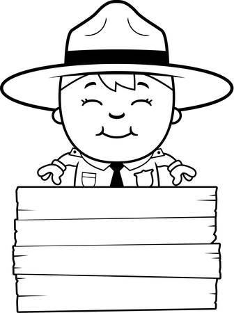 ranger: A cartoon illustration of a boy park ranger with a sign.