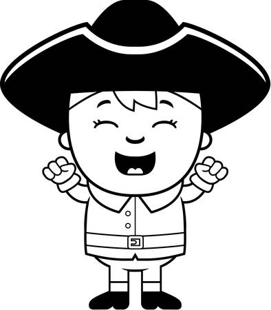 colonial: A cartoon illustration of a colonial girl with an excited expression.