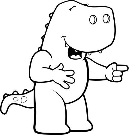 A happy cartoon dinosaur laughing and smiling.