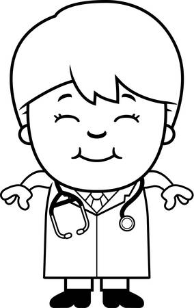 stethoscope boy: A cartoon illustration of a child doctor smiling.