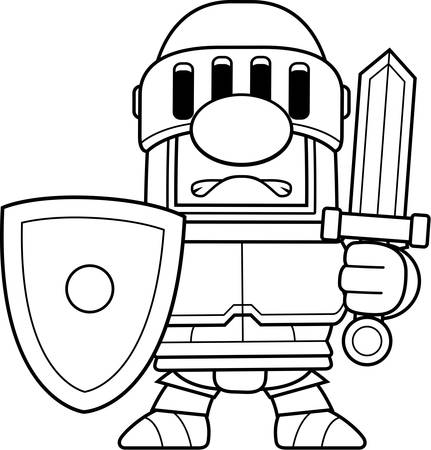 villain: A cartoon knight in a black suit of armor.