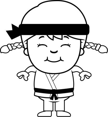A cartoon illustration of a karate kid smiling. Ilustração