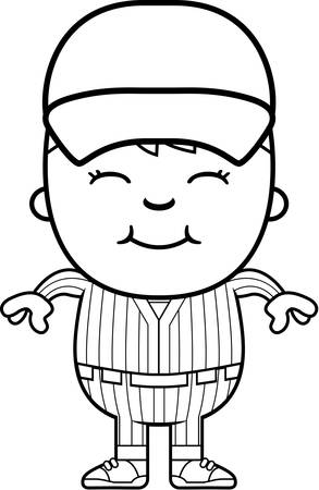 boy smiling: A cartoon illustration of a boy baseball player standing and smiling. Illustration