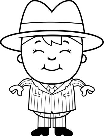 A happy cartoon kid mobster standing and smiling.