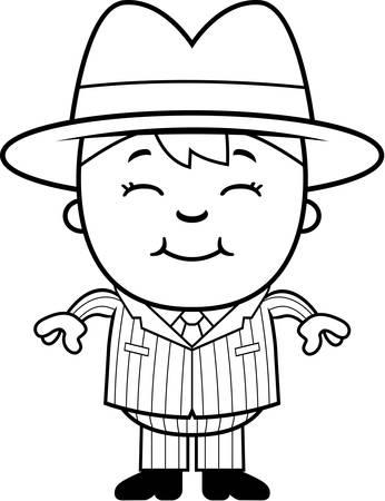 Een gelukkig cartoon kind gangster staan en glimlachen. Stock Illustratie