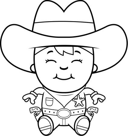 holster: A cartoon illustration of a little cowboy sitting and smiling.