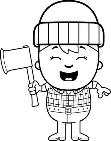 A cartoon illustration of a little lumberjack with an axe.