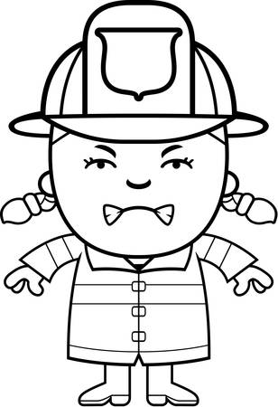 angry teenager: A cartoon illustration of a firefighter girl looking angry. Illustration