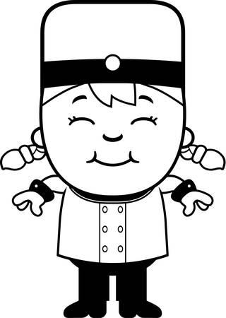 concierge: A cartoon illustration of a child bellhop smiling. Illustration