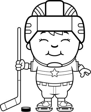 puck: A cartoon illustration of a child hockey player smiling. Illustration