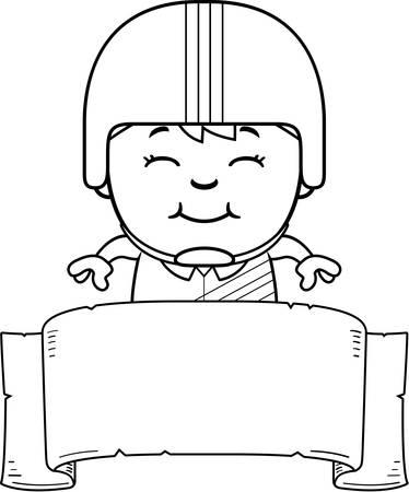 daredevil: A cartoon illustration of a little daredevil with a banner. Illustration