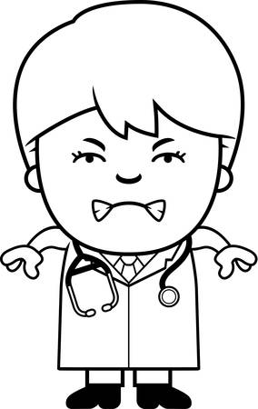 stethoscope boy: A cartoon illustration of a child doctor looking angry.
