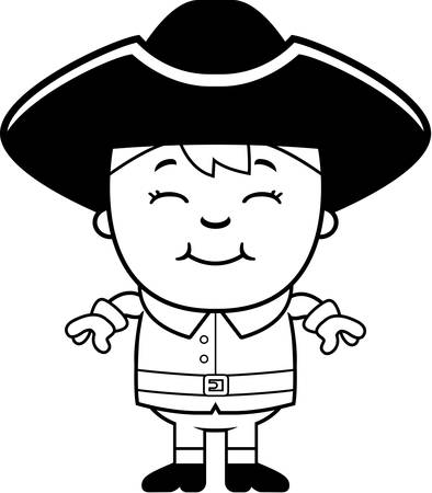 A cartoon illustration of a colonial boy standing and smiling.