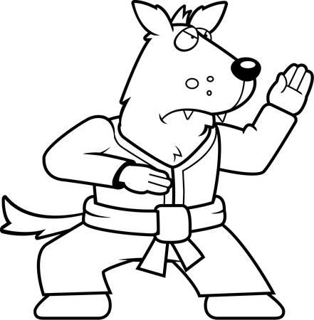 gi: A cartoon wolf doing karate in a gi. Illustration