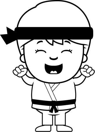 gi: A cartoon illustration of a karate kid celebrating. Illustration