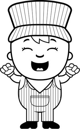 conductor: A cartoon illustration of a boy train conductor looking excited. Illustration