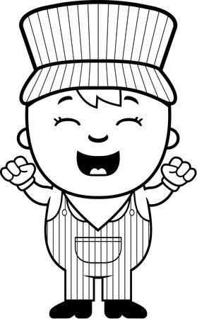 Een cartoon illustratie van een jongen conducteur op zoek opgewonden. Stock Illustratie