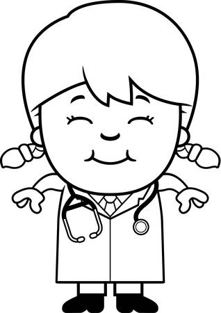 girl stethoscope: A cartoon illustration of a child doctor smiling.