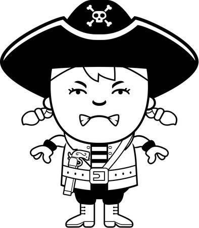 Een cartoon illustratie van een piraat meisje op zoek boos.