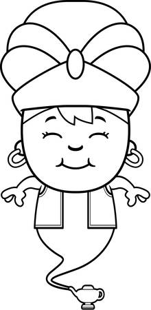 djinn: A cartoon illustration of a little genie smiling.