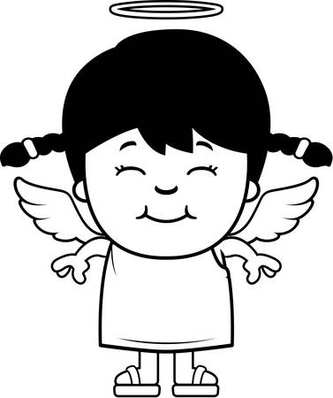 latina: A cartoon illustration of a girl angel standing and smiling.