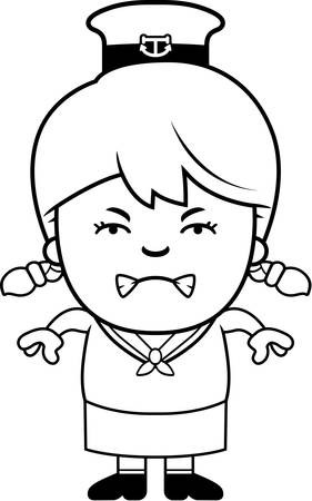 A cartoon illustration of a little sailor looking angry.