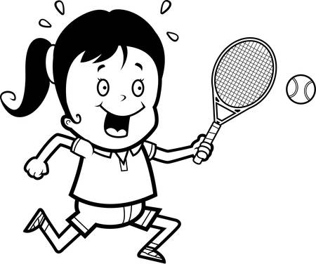 A cartoon illustration of a child playing tennis.