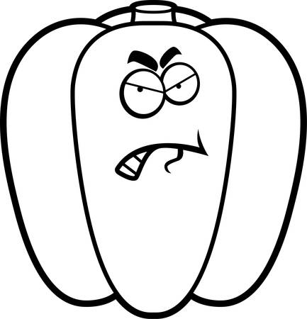 A cartoon illustration of a green bell pepper with an angry expression.