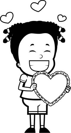 child holding sign: A happy cartoon girl with a valentine. Illustration